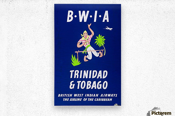 BWIA Trinidad Tobago original travel poster  Metal print
