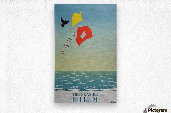 1950 Belgium seaside original travel vintage poster  Metal print