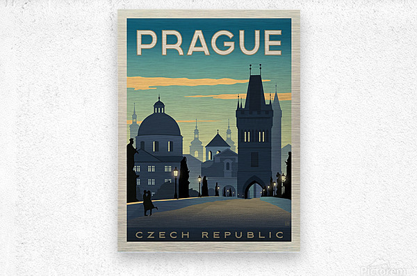 Prague vintage travel poster  Impression metal