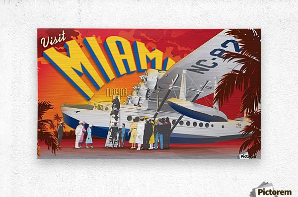 Vectree Vintage Miami Florida travel poster  Metal print