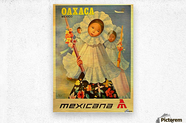 Oaxaca Mexico 1969 travel poster for Mexicana Airlines  Metal print