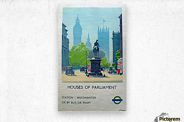London Underground Houses of Parliament  Metal print