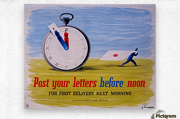 Post your letters before noon  Metal print