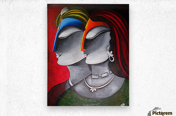 Divine Love Krishna and Radha  Metal print