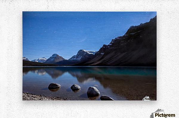 Bow lake under moonlight   Metal print