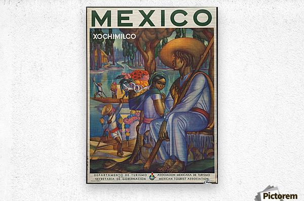 Mexico Xochimilco vintage poster  Metal print
