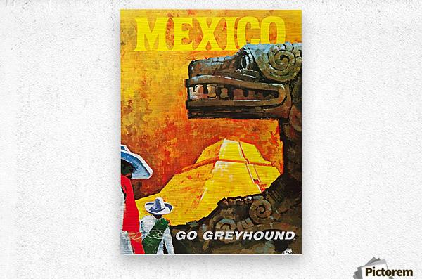 Mexico Go Greyhound Travel Poster  Metal print