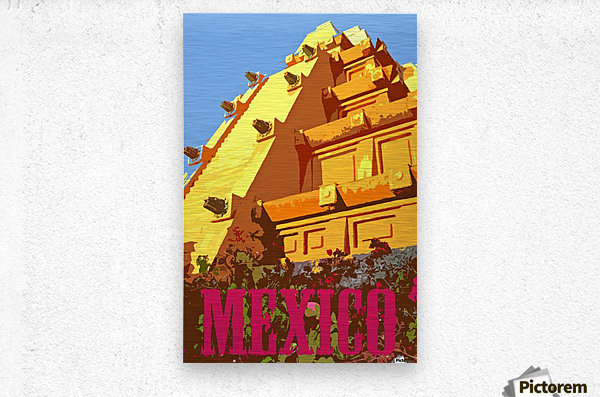Mexico City vintage travel poster  Metal print