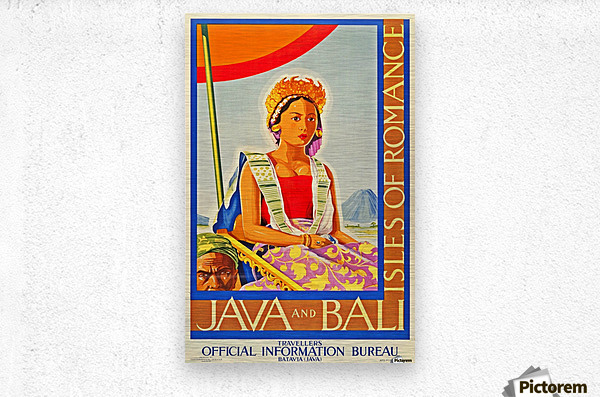 Java and Bali travel poster  Metal print