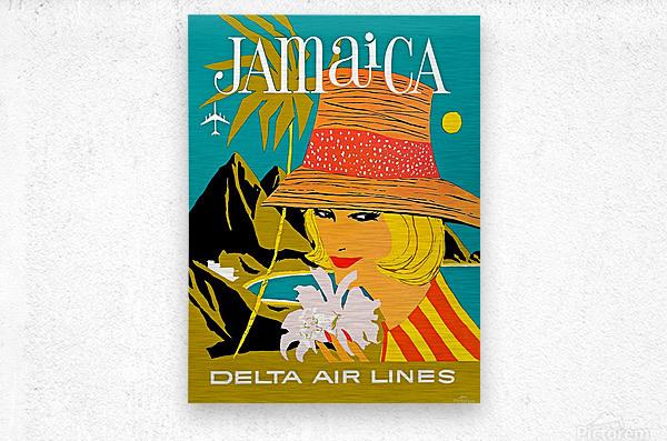 Vintage Jamaica Delta Airlines Poster  Metal print