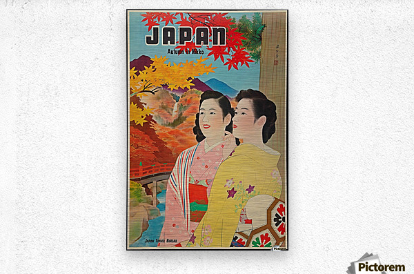 Japan Autumn in Nikko travel poster  Metal print