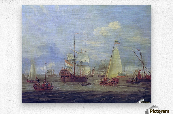 Peter the Great inspecting ship at Amsterdam  Metal print