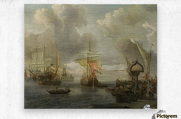 View of a Harbour on the Zuiderzee  Metal print