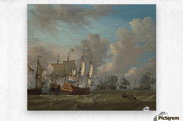 Dutch ships in a naval skirmish  Metal print