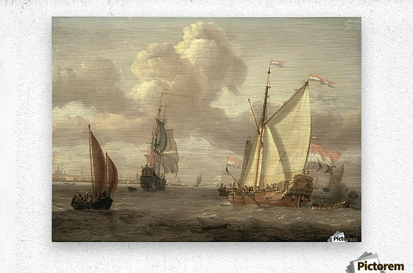 Ship on the River IJ in Amsterdam, around 1661  Metal print