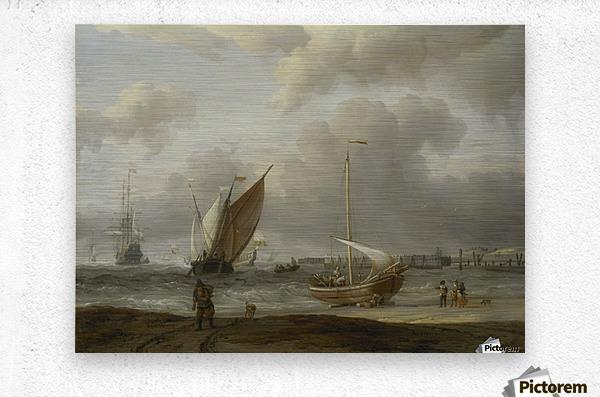 Fishing boats in storm off the Dutch Coast at Den Helder  Metal print