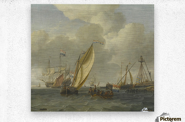 Dutch ships on choppy coastal waters by a spit of land with a beacon  Metal print
