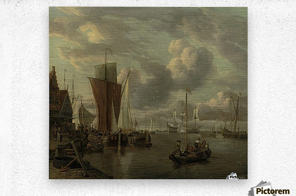 Quayside with extensive shipping  Metal print
