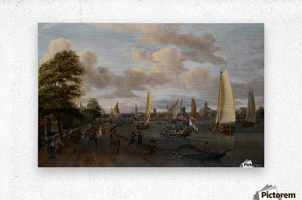 The river Buiten-Amstel with a trekschuit and other shipping  Metal print