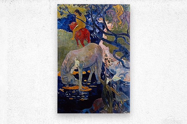 The White Horse by Gauguin  Metal print