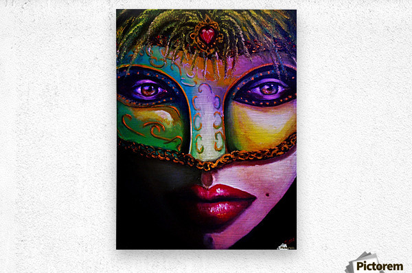 beneath the mask  Metal print