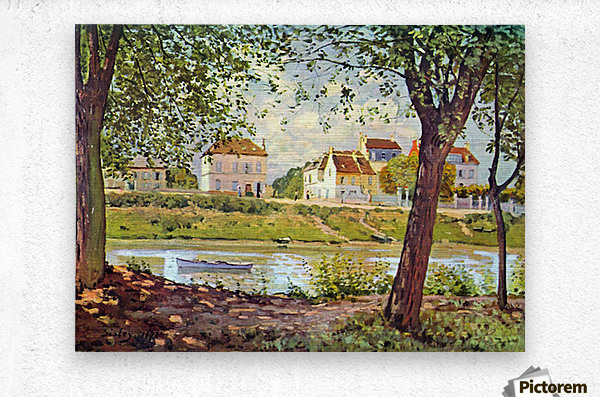 Village on the banks of the Seine by Sisley  Metal print