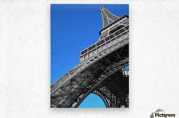 silver Eiffel tower Paris  Metal print