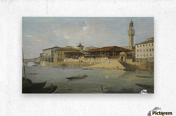 Florence, a view of the Arno with the Tiratoio delle Grazie  Metal print
