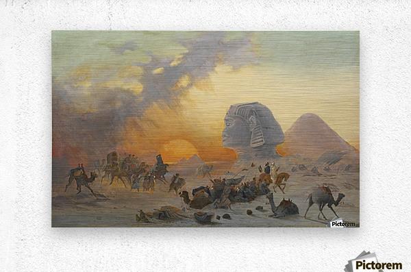A caravan fleeing from a desert simoom near the sphinx  Metal print