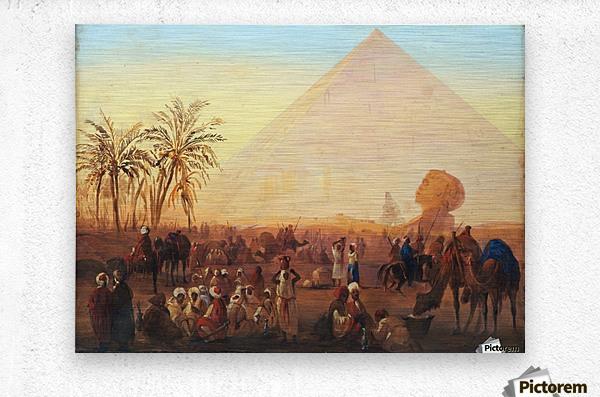 Caravan having a break at the pyramids  Metal print