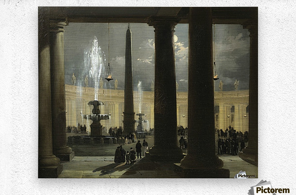 La place saint Pierre de Rome au clair de lune  Metal print
