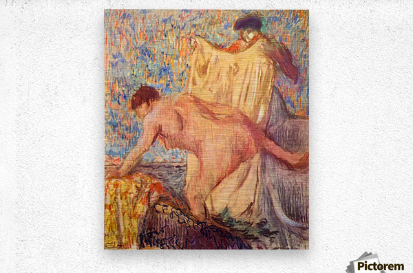 Withdrawing from the bathtub by Degas  Metal print