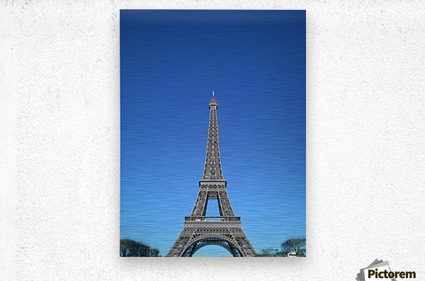 Eiffel tower Paris black and white with color  Metal print