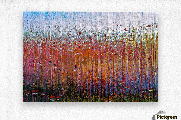 Glass Colorful Abstract Background Color Drip  Metal print