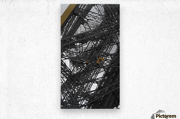 Eiffel tower Paris gold on black and white   Metal print