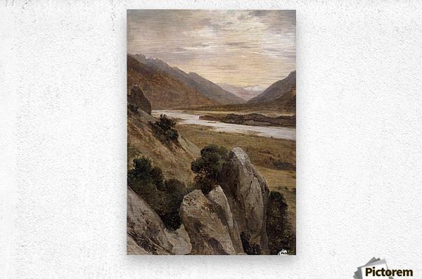 Mountainous Riverscape  Metal print