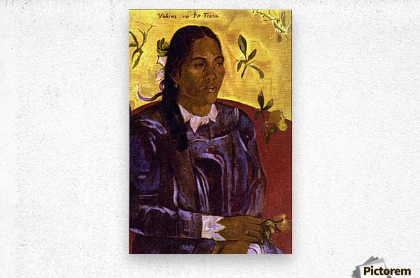 Woman with Gardenia by Gauguin  Metal print