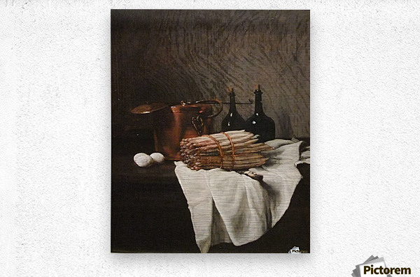 Still life on withe cloth  Impression metal