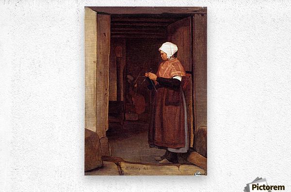 Peasant knitting  Metal print