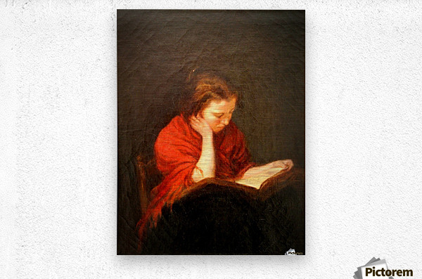 Woman reading  Impression metal