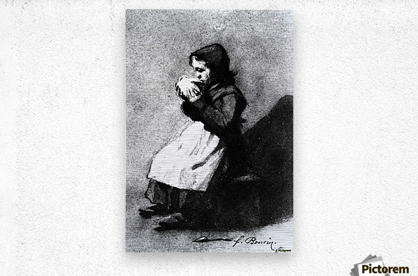 Girl Drinking from a Bowl  Metal print