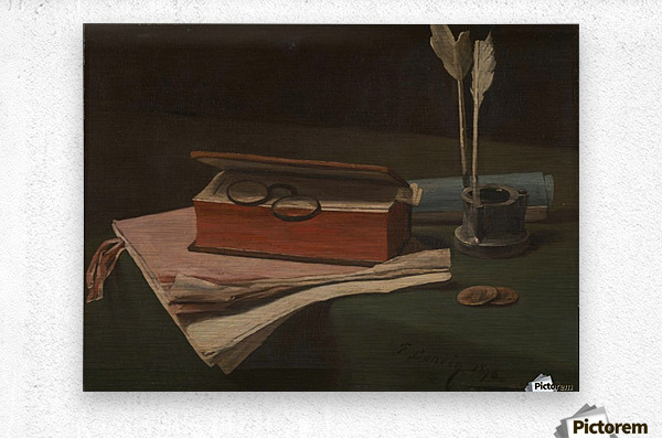 Still Life with Book, Papers and Inkwell  Metal print