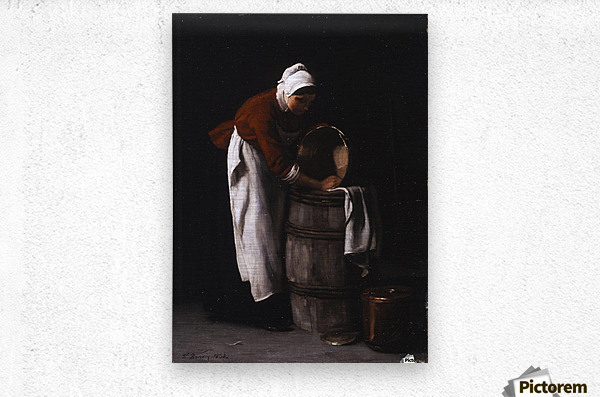 A woman cleaning a barrel  Metal print