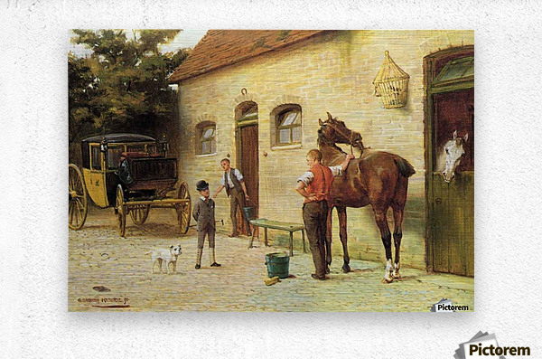 A family in front of their house  Metal print