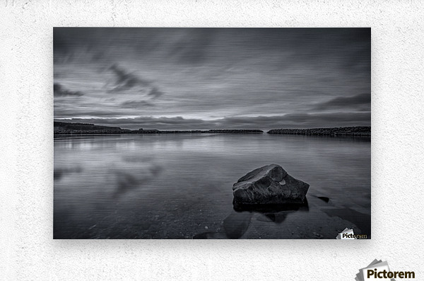 Inside the Harbour - bw  Metal print