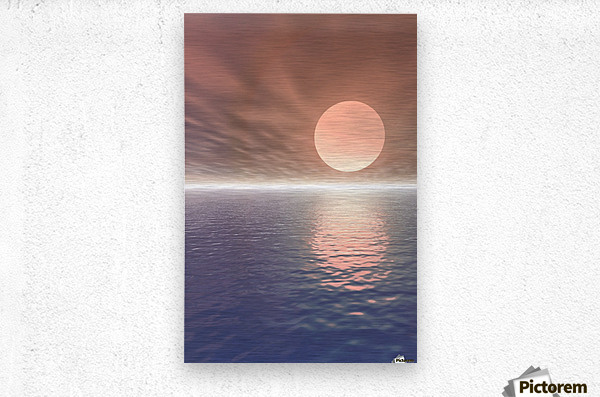 Illustrated Sun Over A Seascape  Metal print