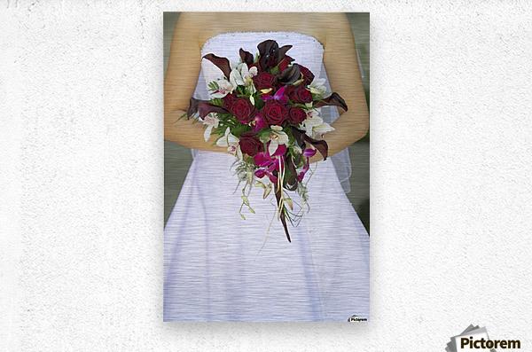Bride's Bouquet And Wedding Dress  Metal print