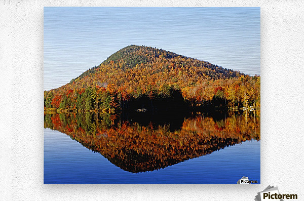 Autumn Colours Reflected In Water, Eastern Townships, Quebec, Canada  Metal print