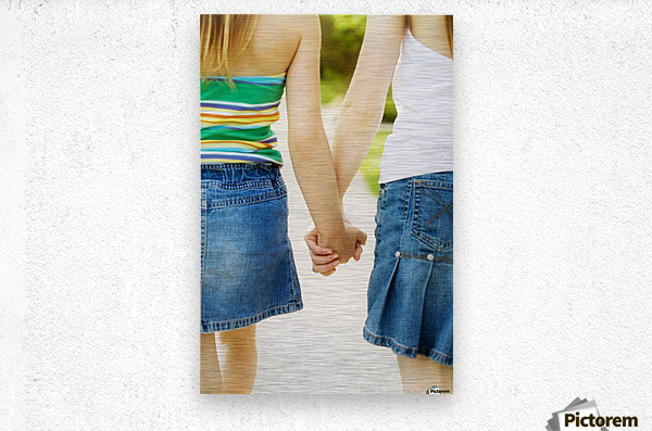 Rear View Of Girls Holding Hands  Metal print