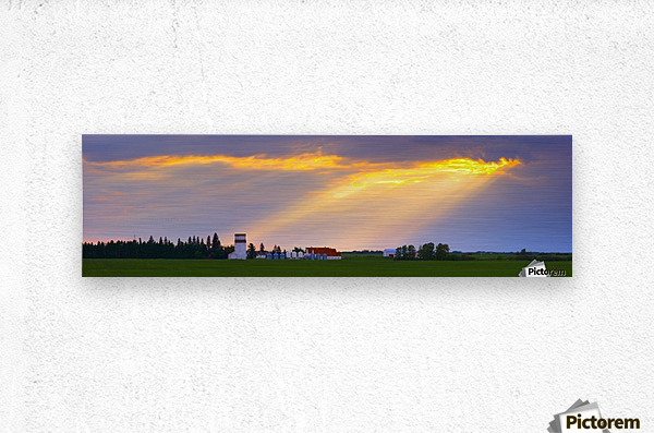 God Beams Over Prairie Farm  Metal print